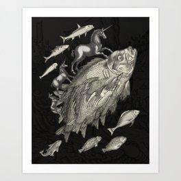 Wierd Fish and Unicorns Unite Art Print