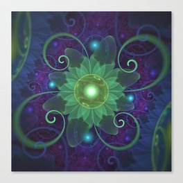 Glowing Blue-Green Fractal Lotus Lily Pad Pond Canvas Print