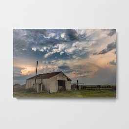 August Eve - Storm Sky Over Old Barn in Oklahoma Metal Print