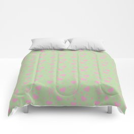 hearts and star dot green Comforters