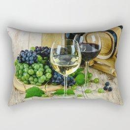 Glasses of Wine plus Grapes and Barrel Rectangular Pillow