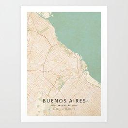 Buenos Aires, Argentina - Vintage Map Art Print