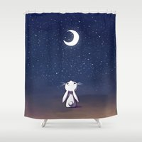 bunny Shower Curtains featuring Moon Bunny by Freeminds