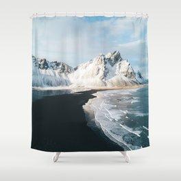 Iceland Mountain Beach - Landscape Photography Shower Curtain