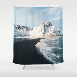 Iceland Mountain Beach - Landscape Photography Shower Curtain