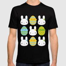 Kawaii Easter Bunny & Eggs MEDIUM Mens Fitted Tee Black