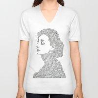 audrey hepburn V-neck T-shirts featuring Audrey Hepburn by S. L. Fina