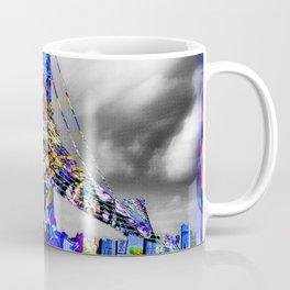 New York City Manhattan Bridge Pure Pop Blue Coffee Mug