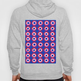 Donut Evil Eye Amulet Talisman - red on blue doughnut Hoody