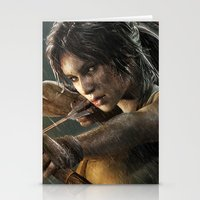 tomb raider Stationery Cards featuring TOMB RAIDER by Ylenia Pizzetti