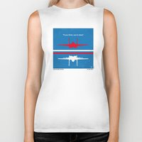 top gun Biker Tanks featuring No128 My TOP GUN minimal movie poster by Chungkong