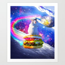 Rainbow Space Hamster Riding Burger Art Print