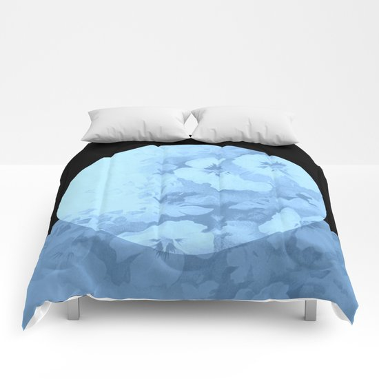 blue moon floral Comforters