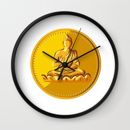 Buddha Gold Coin Medallion Retro Wall Clock