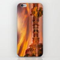 jamaica iPhone & iPod Skins featuring Sunset over Jamaica Pond by LudaNayvelt