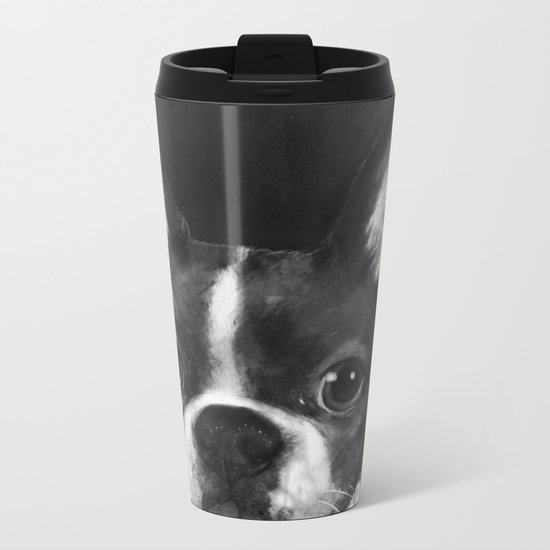 boston terrier Metal Travel Mug
