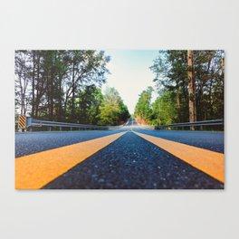 Between yellow lines Canvas Print