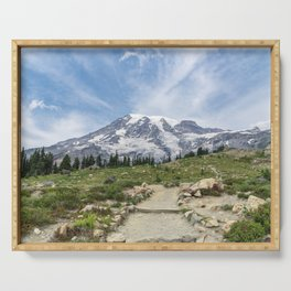 Trail Up Rainier Color Serving Tray