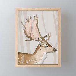 Mr & Mrs Fallow Deer Framed Mini Art Print