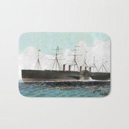 Vintage SS Great Eastern Steamboat Painting (1858) Bath Mat