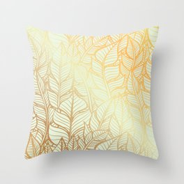 Bohemian Gold Feathers Illustration With White Shimmer Throw Pillow
