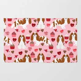 Cavalier King Charles Spaniel blenheim valentines day cupcake heart dog breed spaniels pet gifts Rug