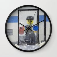 police Wall Clocks featuring Police Officer by Pedro Nogueira