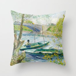 Vincent Van Gogh - Fishing in Spring, the Pont de Clichy Throw Pillow
