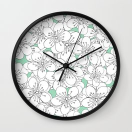 Cherry Blossom With Mint Blocks - In Memory of Mackenzie Wall Clock