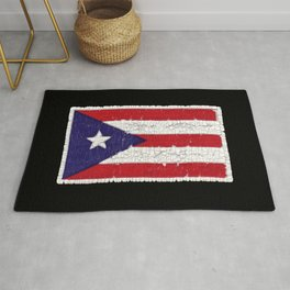 Puerto Rican flag with distressed textures Rug