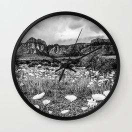 Wildflower Bloom | Black and White Vintage Red Rocks Las Vegas National Park Floral Landscape Wall Clock