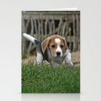 puppies Stationery Cards featuring Beagle puppies by Martina Berg