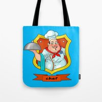 chef Tote Bags featuring chef by Fargon