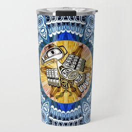 Raven Steals the Sun Pacific Northwest Coast Native Psychedelic Mandala Travel Mug