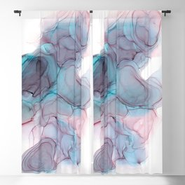 Sherbet & Pitch Black Alcohol Ink Painting Blackout Curtain