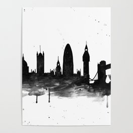 London, black and white Poster