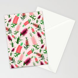 Pink Australian Native Florals - Bottlebrush Pattern Stationery Cards