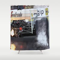 senna Shower Curtains featuring Birth of a Myth by Borja Sanz
