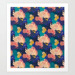 Chrysanthemums and Marigolds Art Print