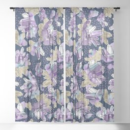 Amethyst Crystal Clusters / Violet, Blue and Gold Sheer Curtain