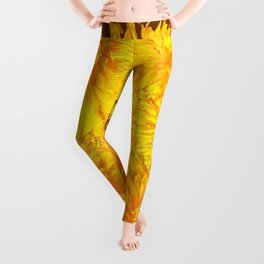 ABSTRACTED COFFEE BROWN   FIRST SPRING YELLOW DANDELIONS Leggings