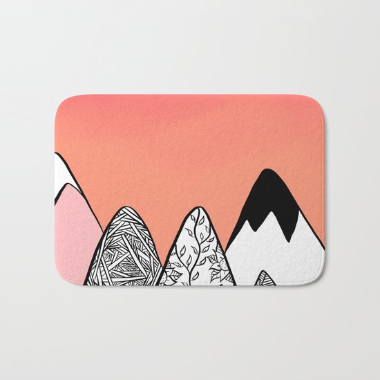 Modern abstract pink coral watercolor sky black white geometric floral mountains illustration Bath Mat