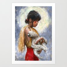 Amazonian girl and her sloth Art Print