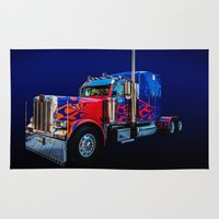 optimus prime Area & Throw Rugs featuring Optimus Prime Blue by Steve Purnell