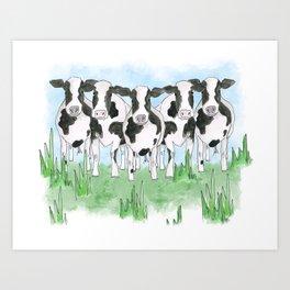 A Field of Cows Art Print