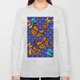 MODERN BUTTERFLY BLUE ABSTRACT WORLD Long Sleeve T-shirt