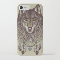 computer iPhone & iPod Cases featuring Wind Catcher Wolf by Rachel Caldwell