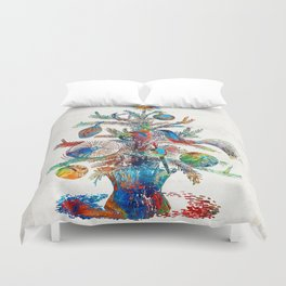 Colorful Christmas Tree Art by Sharon Cummings Duvet Cover