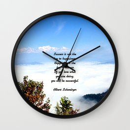 Happiness Is The Key To Success Uplifting Inspirational Quote With Blue Sky Filled With Clouds Wall Clock