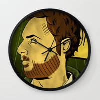 watchmen Wall Clocks featuring It's Always Sunny in Watchmen - Charlie by Jessica On Paper